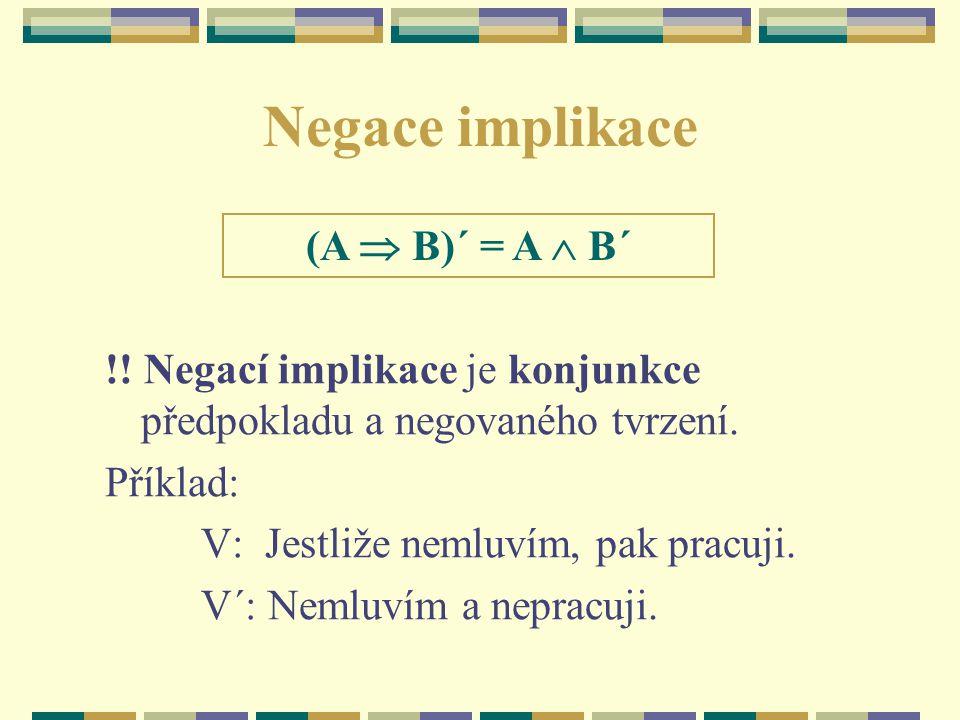 Negace implikace (A  B)´ = A  B´
