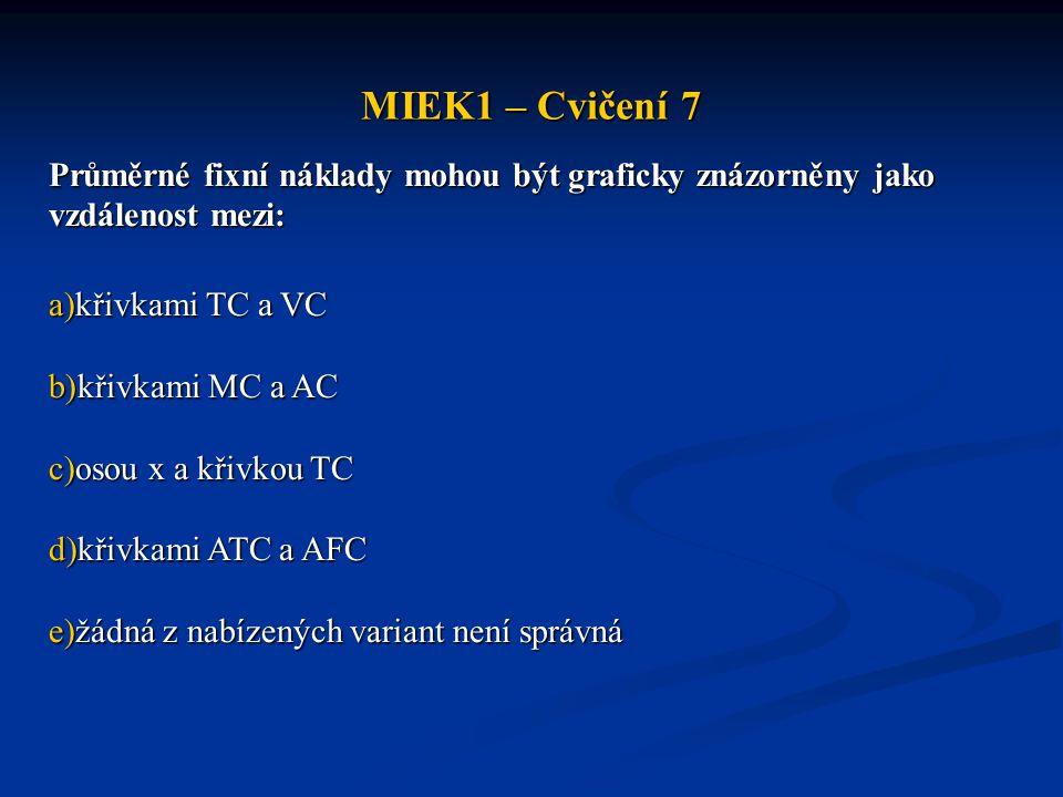 MIEK1 – Cvičení 7 Průměrné fixní náklady mohou být graficky znázorněny jako vzdálenost mezi: křivkami TC a VC.
