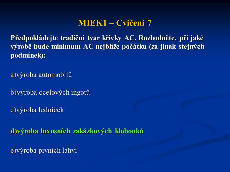 MIEK1 – Cvičení 7 Předpokládejte tradiční tvar křivky AC. Rozhodněte, při jaké výrobě bude minimum AC nejblíže počátku (za jinak stejných podmínek):