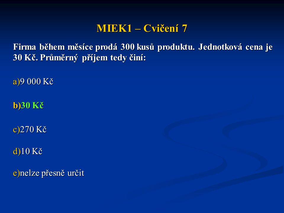 MIEK1 – Cvičení 7 Firma během měsíce prodá 300 kusů produktu. Jednotková cena je 30 Kč. Průměrný příjem tedy činí: