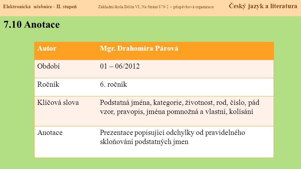 7.10 Anotace Autor Mgr. Drahomíra Párová Období 01 – 06/2012 Ročník