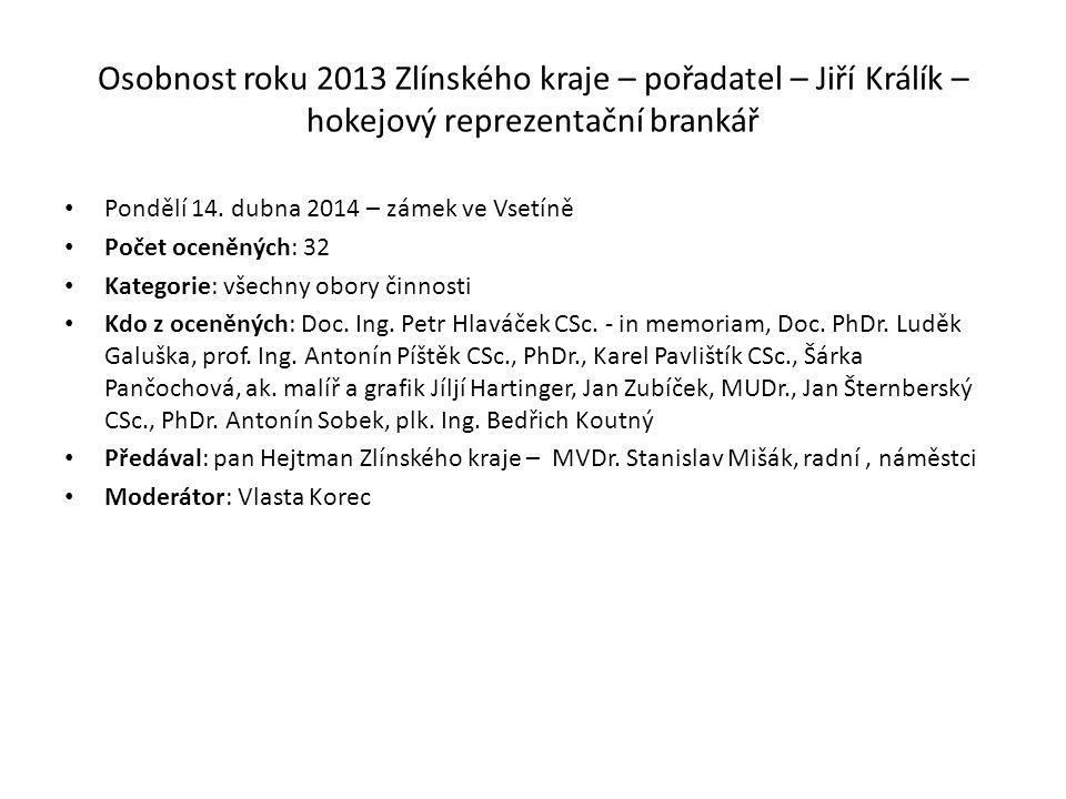 Osobnost roku 2013 Zlínského kraje – pořadatel – Jiří Králík – hokejový reprezentační brankář