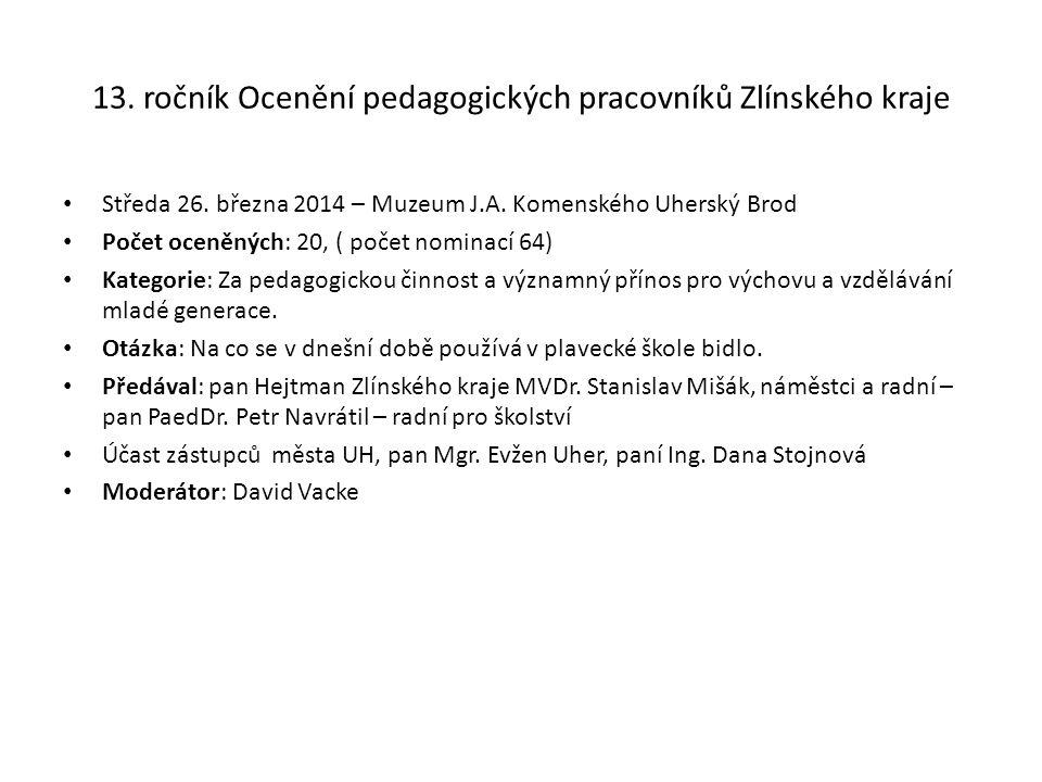 13. ročník Ocenění pedagogických pracovníků Zlínského kraje