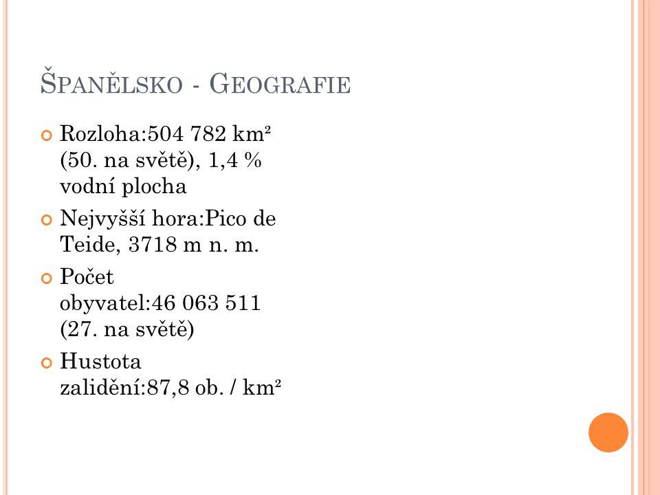 Španělsko - Geografie Rozloha:504 782 km² (50. na světě), 1,4 % vodní plocha. Nejvyšší hora:Pico de Teide, 3718 m n. m.