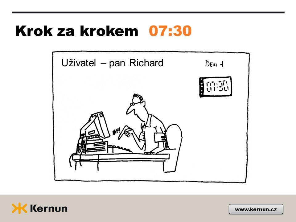 Krok za krokem 07:30 Uživatel – pan Richard www.kernun.cz