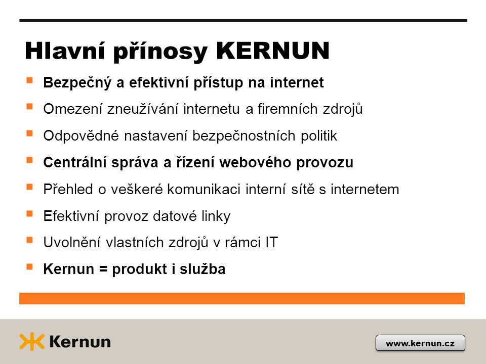 Hlavní přínosy KERNUN Bezpečný a efektivní přístup na internet