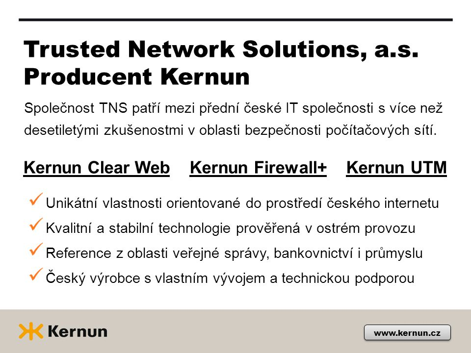 Trusted Network Solutions, a.s. Producent Kernun