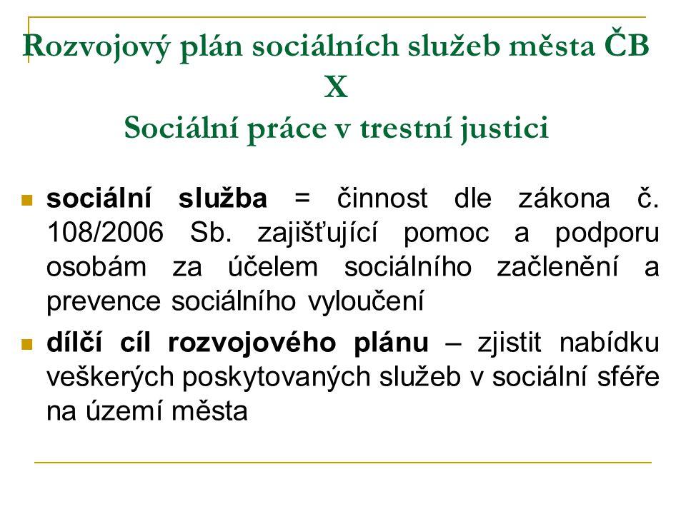 Rozvojový plán sociálních služeb města ČB X Sociální práce v trestní justici