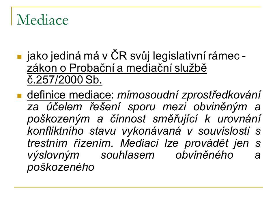 Mediace jako jediná má v ČR svůj legislativní rámec - zákon o Probační a mediační službě č.257/2000 Sb.