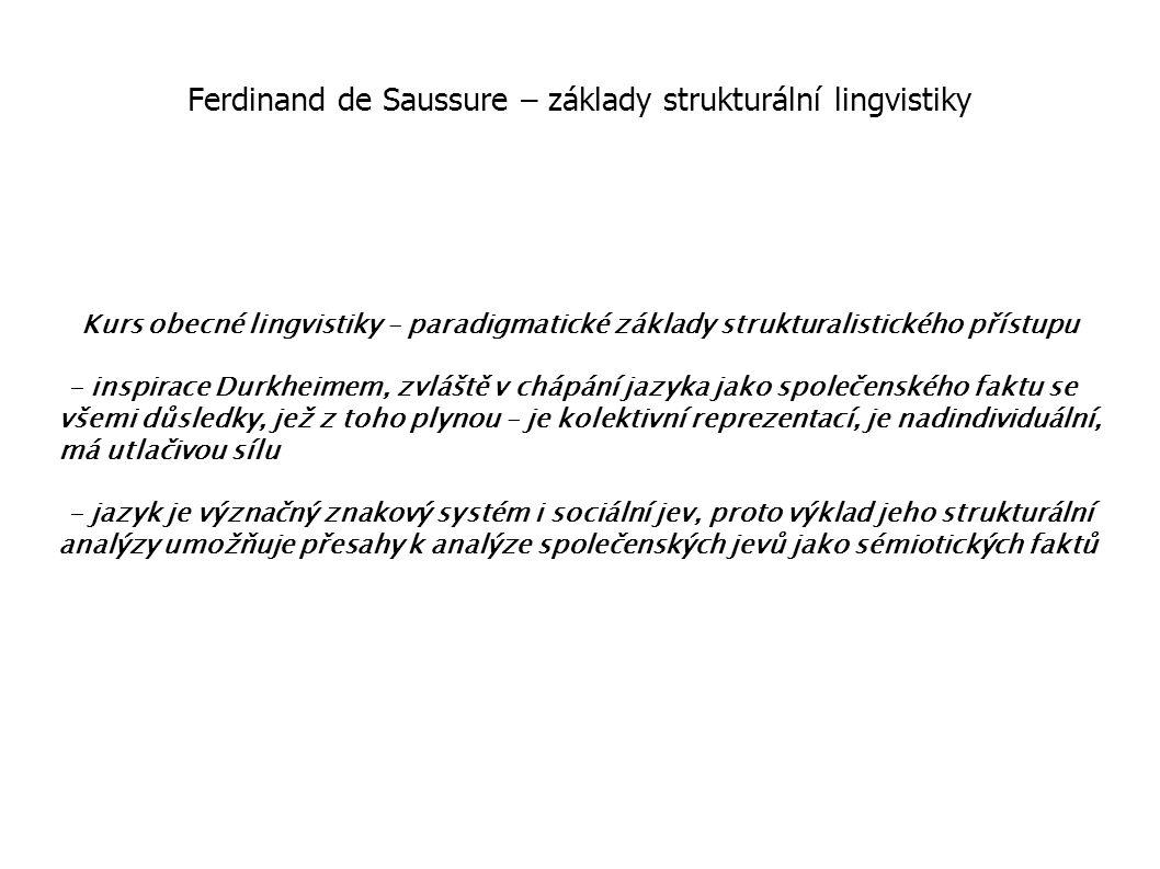 Ferdinand de Saussure – základy strukturální lingvistiky