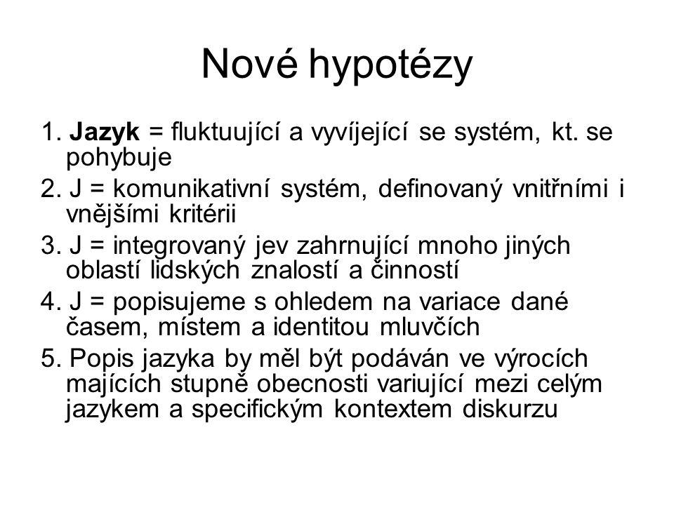 Nové hypotézy 1. Jazyk = fluktuující a vyvíjející se systém, kt. se pohybuje. 2. J = komunikativní systém, definovaný vnitřními i vnějšími kritérii.