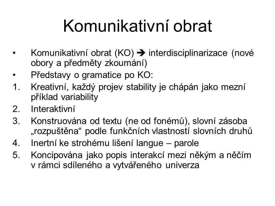 Komunikativní obrat Komunikativní obrat (KO)  interdisciplinarizace (nové obory a předměty zkoumání)