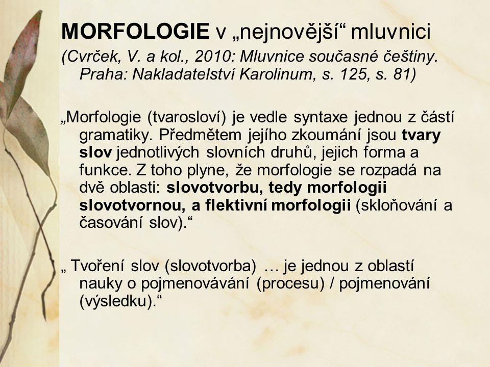 """MORFOLOGIE v """"nejnovější mluvnici"""