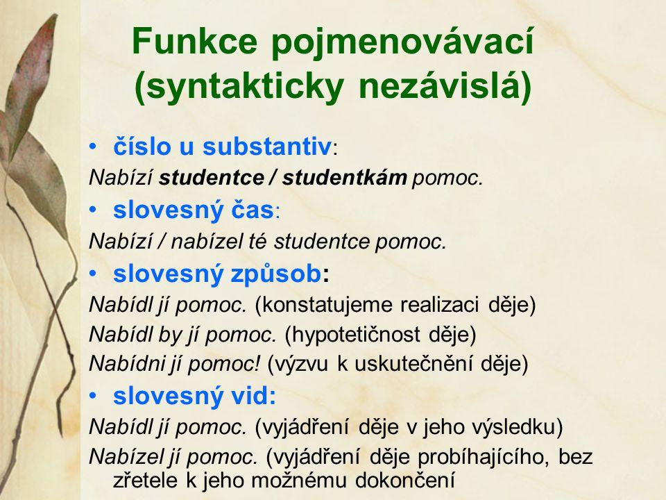 Funkce pojmenovávací (syntakticky nezávislá)