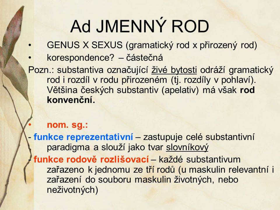 Ad JMENNÝ ROD GENUS X SEXUS (gramatický rod x přirozený rod)