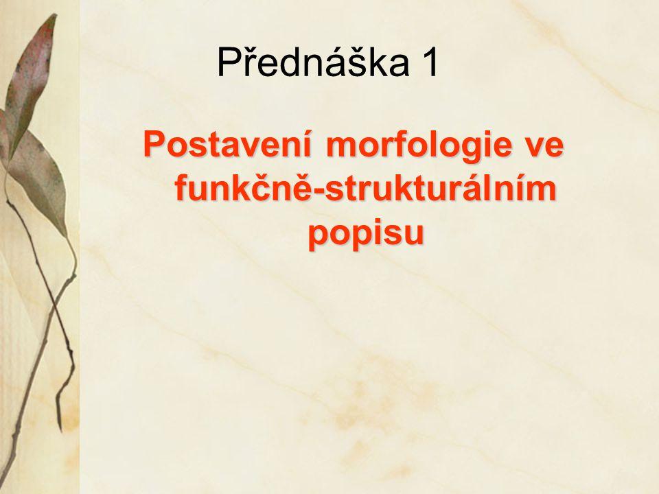 Postavení morfologie ve funkčně-strukturálním popisu