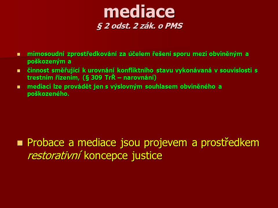 mediace § 2 odst. 2 zák. o PMS mimosoudní zprostředkování za účelem řešení sporu mezi obviněným a poškozeným a.