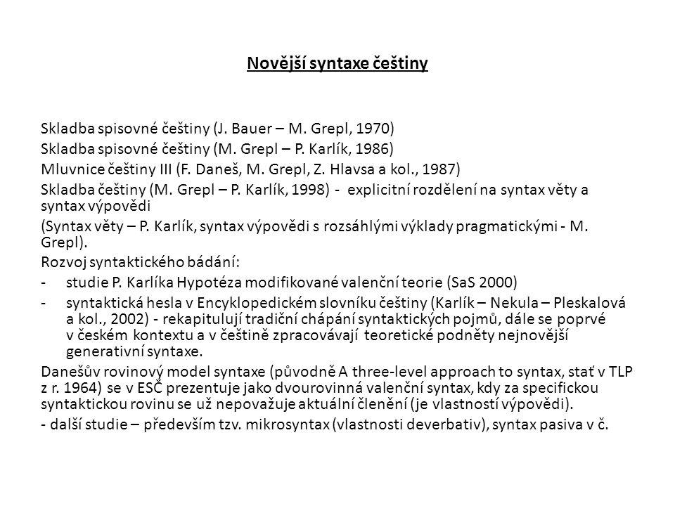 Novější syntaxe češtiny