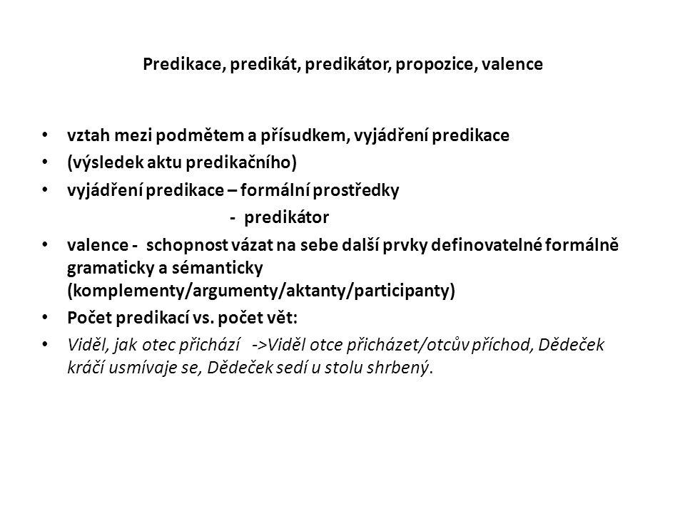 Predikace, predikát, predikátor, propozice, valence