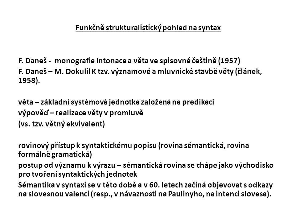 Funkčně strukturalistický pohled na syntax