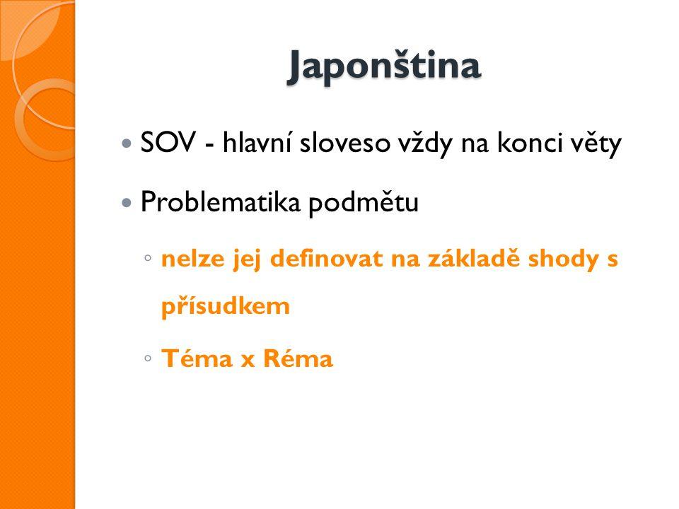 Japonština SOV - hlavní sloveso vždy na konci věty