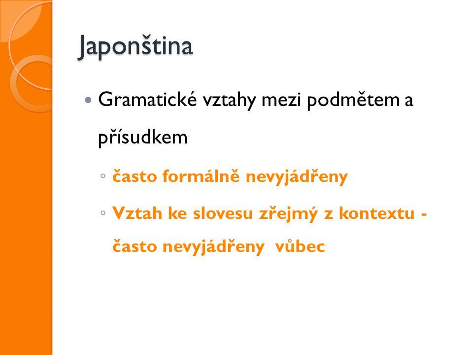 Japonština Gramatické vztahy mezi podmětem a přísudkem