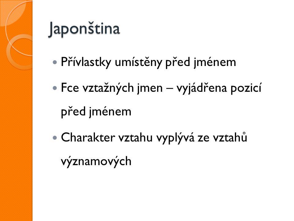 Japonština Přívlastky umístěny před jménem
