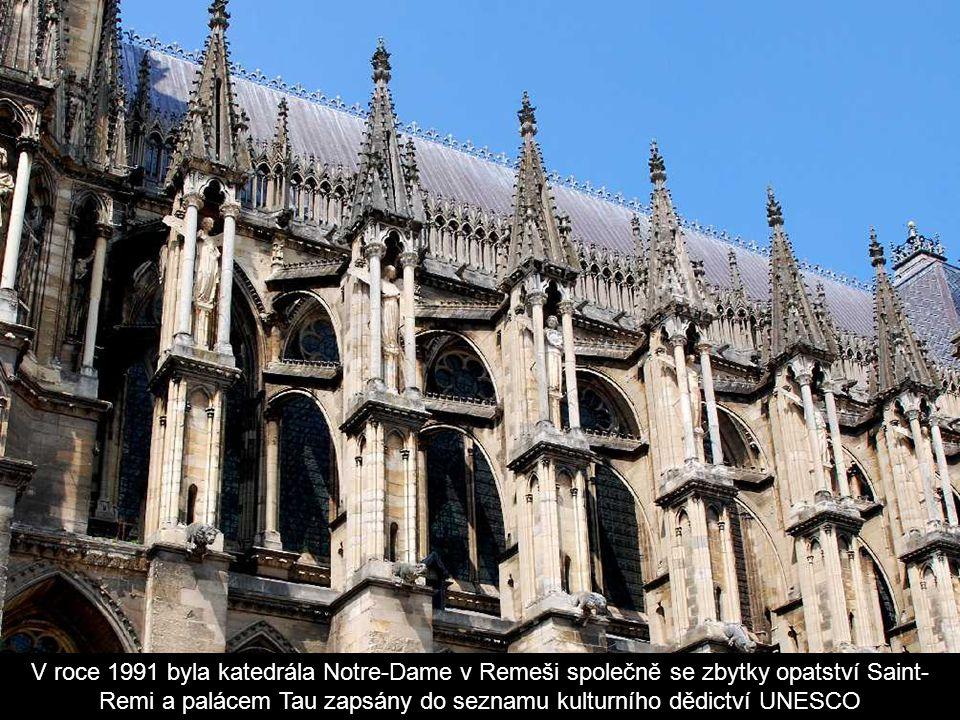 V roce 1991 byla katedrála Notre-Dame v Remeši společně se zbytky opatství Saint-Remi a palácem Tau zapsány do seznamu kulturního dědictví UNESCO