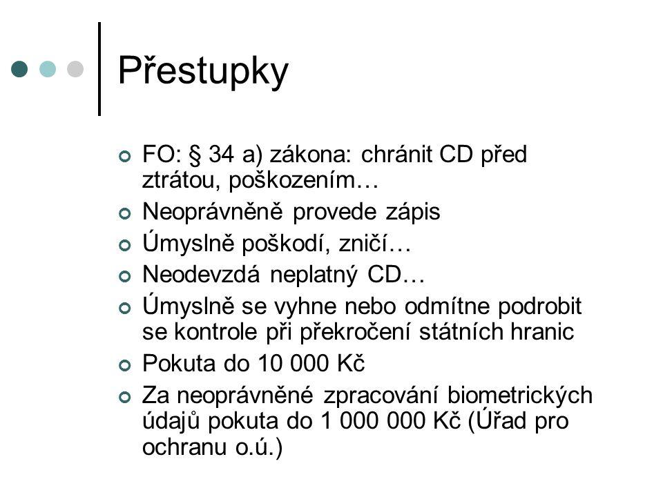 Přestupky FO: § 34 a) zákona: chránit CD před ztrátou, poškozením…