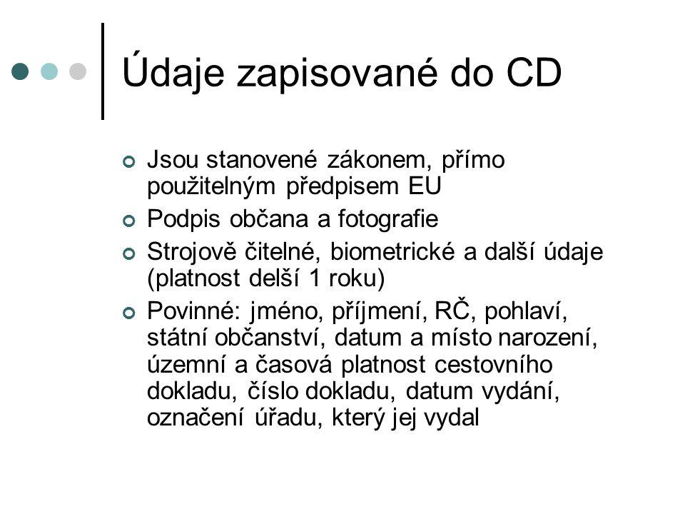 Údaje zapisované do CD Jsou stanovené zákonem, přímo použitelným předpisem EU. Podpis občana a fotografie.