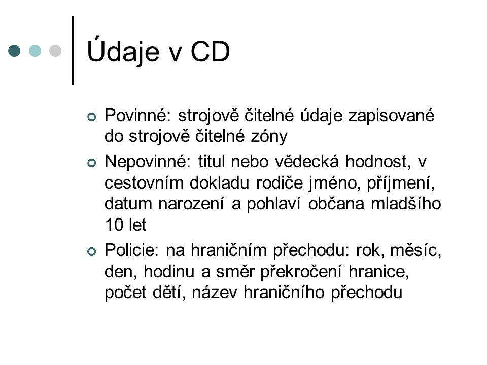 Údaje v CD Povinné: strojově čitelné údaje zapisované do strojově čitelné zóny.