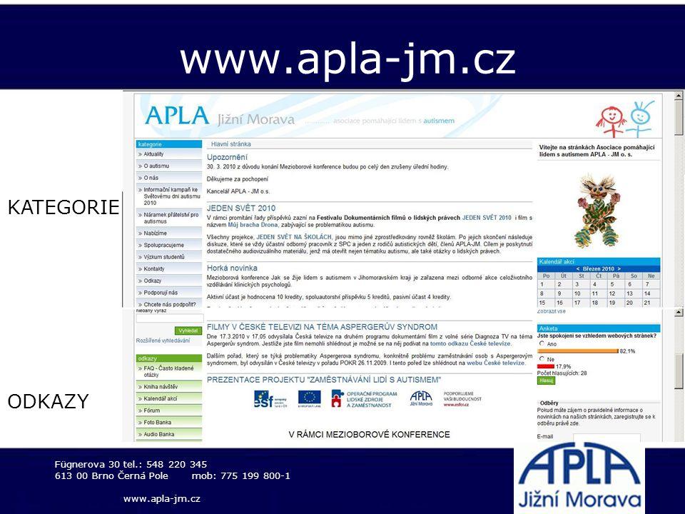 www.apla-jm.cz KATEGORIE ODKAZY Fügnerova 30 tel.: 548 220 345