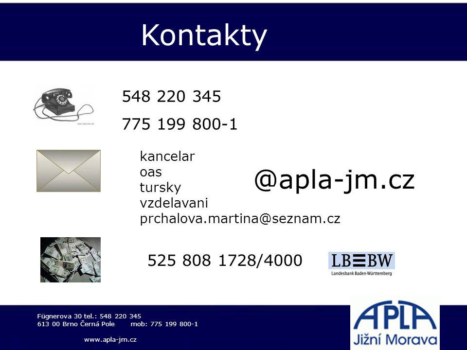Kontakty @apla-jm.cz 548 220 345 775 199 800-1 525 808 1728/4000