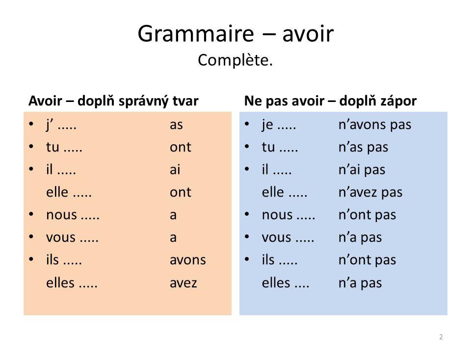Grammaire – être, avoir Être = být Avoir = mít être n'être pas je suis