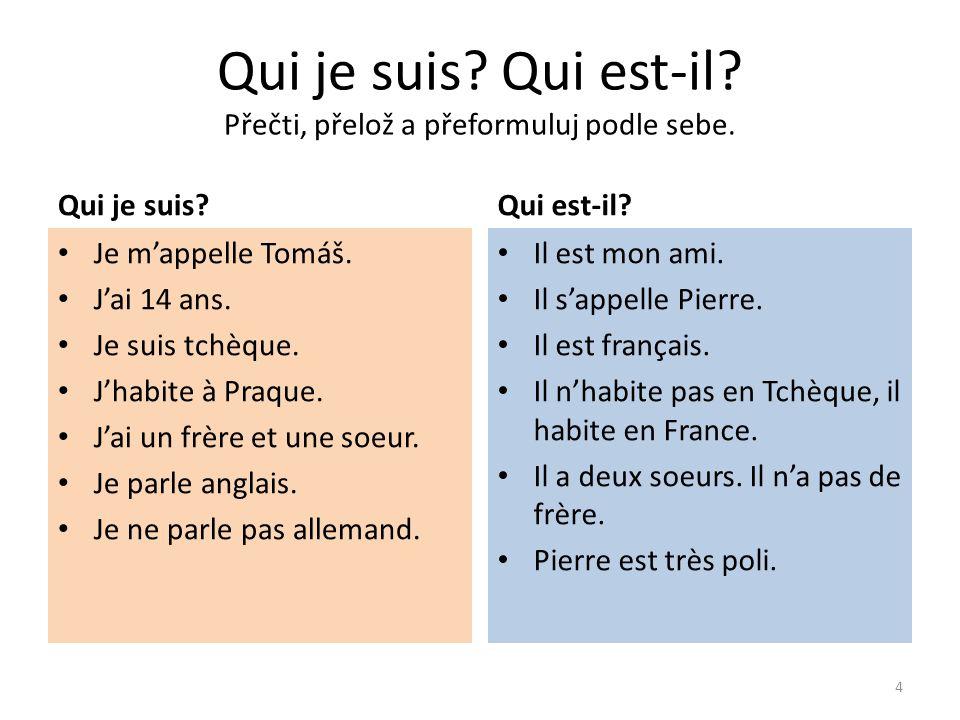 Qui je suis Qui est-il Řešení - překlad.