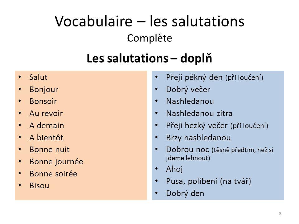 Vocabulaire – les salutations Řešení