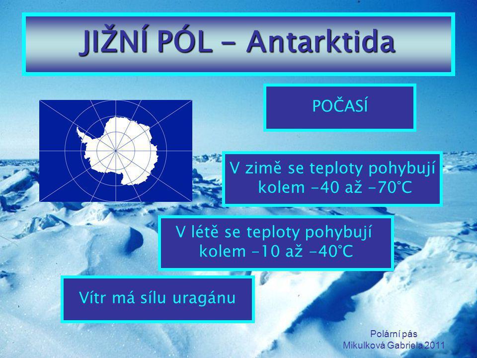 JIŽNÍ PÓL - Antarktida POČASÍ V zimě se teploty pohybují