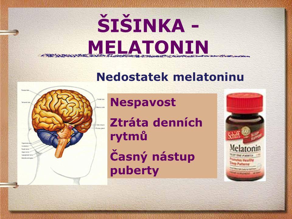 ŠIŠINKA -MELATONIN Nedostatek melatoninu Nespavost