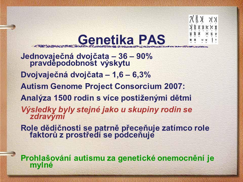 Genetika PAS Jednovaječná dvojčata – 36 – 90% pravděpodobnost výskytu