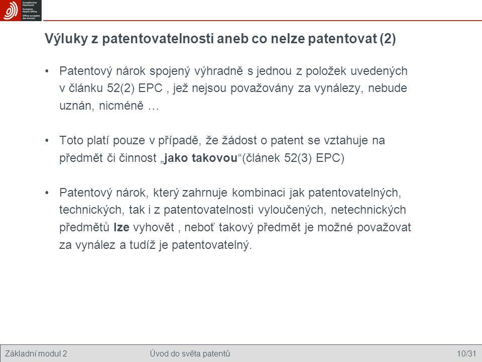 Výluky z patentovatelnosti aneb co nelze patentovat (2)