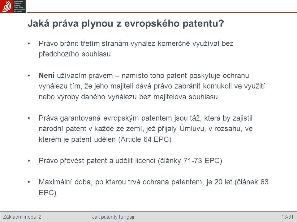 Jaká práva plynou z evropského patentu