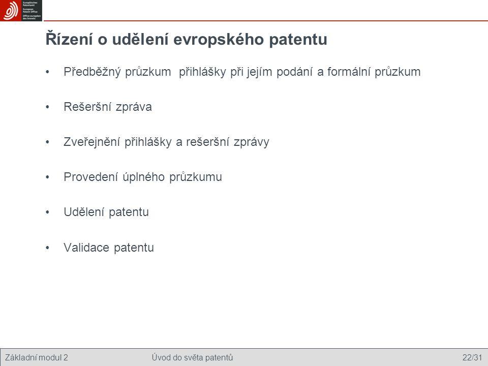 Řízení o udělení evropského patentu