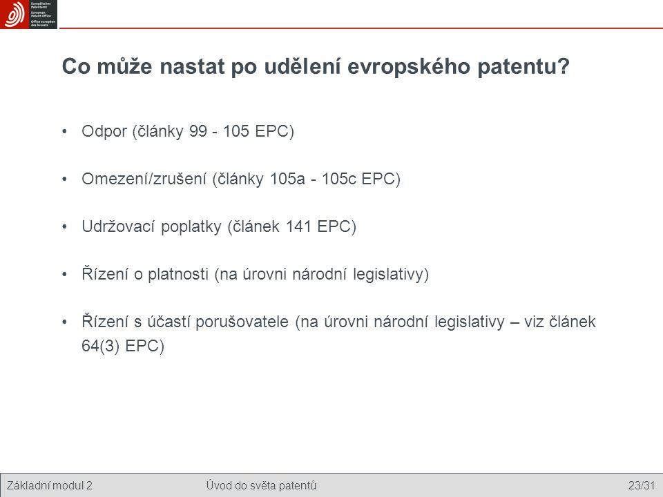 Co může nastat po udělení evropského patentu