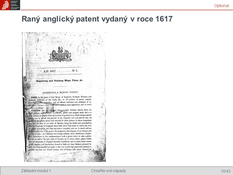 Raný anglický patent vydaný v roce 1617
