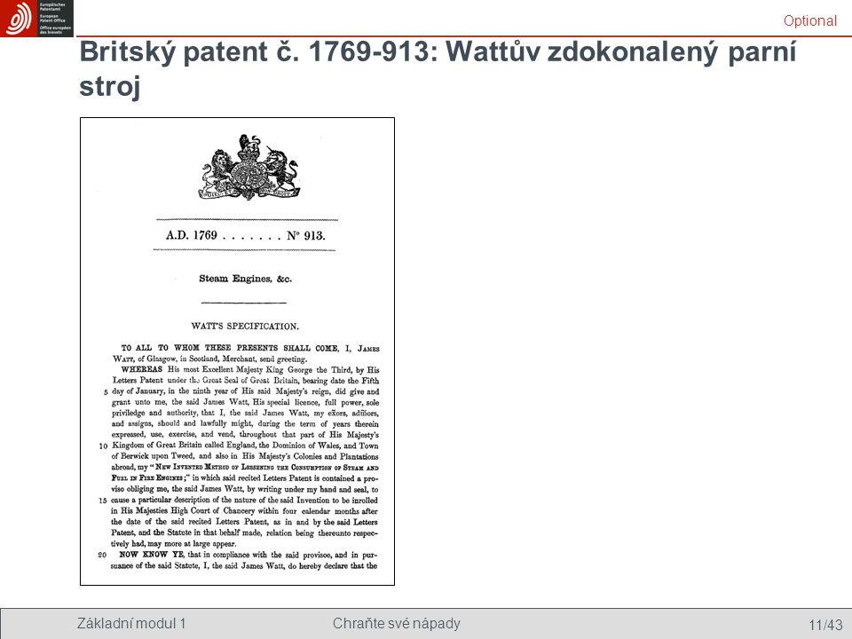Britský patent č. 1769-913: Wattův zdokonalený parní stroj
