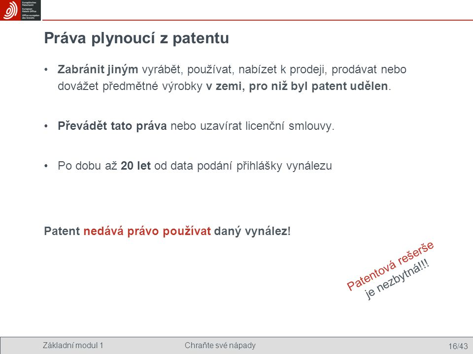 Práva plynoucí z patentu