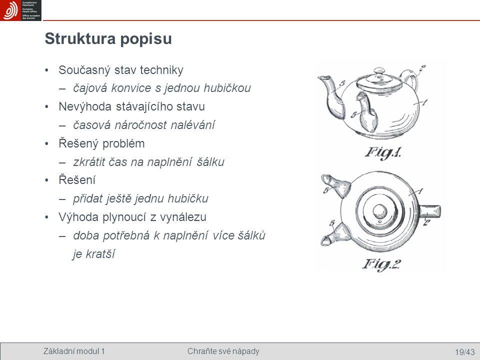 Struktura popisu Současný stav techniky