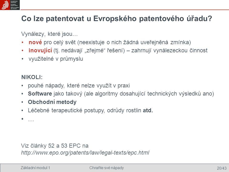 Co lze patentovat u Evropského patentového úřadu