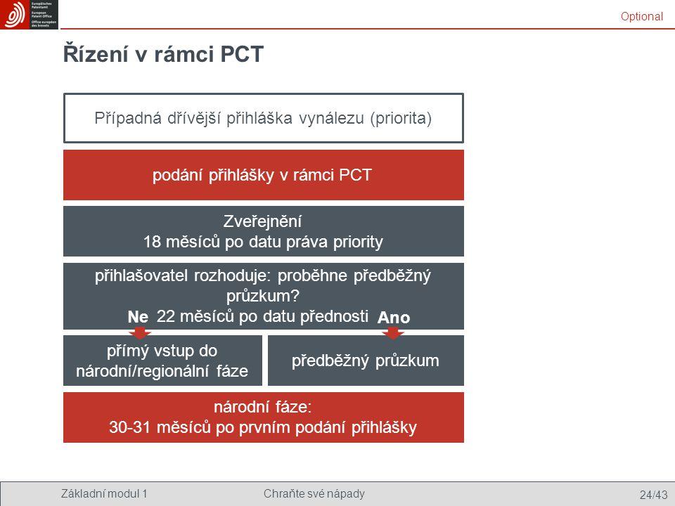 Řízení v rámci PCT Případná dřívější přihláška vynálezu (priorita)