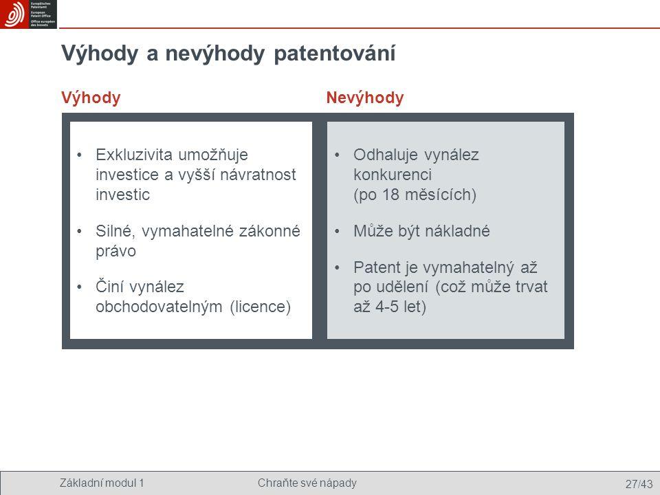 Výhody a nevýhody patentování
